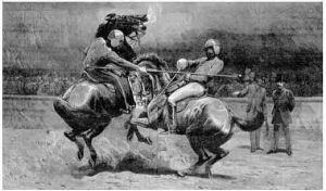 Spanish jousting in Tucson 1700's drawing